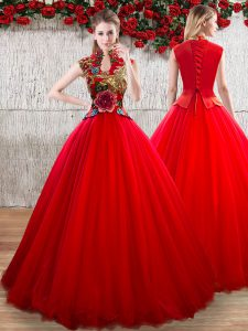Fantastic Red Ball Gowns Appliques Quinceanera Gowns Lace Up Organza Short Sleeves Floor Length