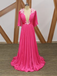 Suitable Hot Pink Half Sleeves Chiffon Sweep Train Backless Prom Gown for Prom and Party and Beach