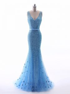 Elegant Baby Blue Sleeveless Beading and Belt and Hand Made Flower Floor Length Prom Gown