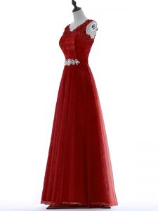 Tulle V-neck Short Sleeves Zipper Beading and Lace Prom Evening Gown in Red