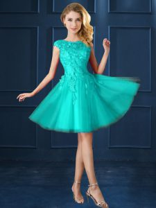 Wonderful Turquoise Lace Up Quinceanera Dama Dress Lace and Belt Cap Sleeves Knee Length