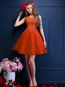 Hot Selling Orange Red Tulle Lace Up Bateau Sleeveless Knee Length Quinceanera Dama Dress Beading and Lace