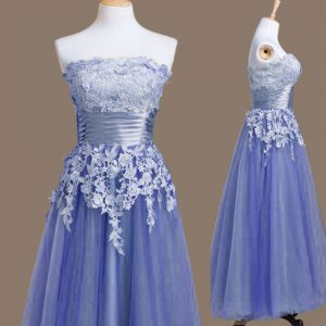 Strapless Sleeveless Lace Up Quinceanera Court of Honor Dress Lavender Tulle
