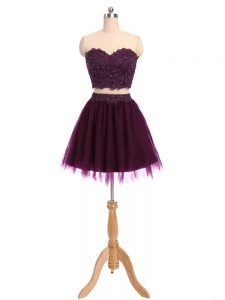 Low Price Dark Purple Two Pieces Tulle Sweetheart Sleeveless Beading and Appliques Mini Length Zipper Evening Dress