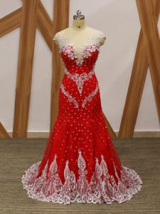 Modest Red Zipper Homecoming Dress Beading and Lace and Appliques Cap Sleeves Brush Train