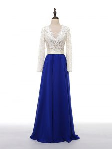 Blue And White V-neck Neckline Lace and Appliques Dress for Prom Long Sleeves Zipper