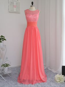 Watermelon Red Chiffon Zipper Quinceanera Dama Dress Sleeveless Floor Length Lace