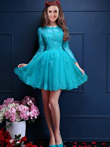 Luxury Aqua Blue Lace Up Damas Dress Beading and Lace and Appliques 3 4 Length Sleeve Mini Length