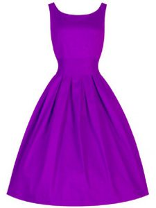 Taffeta Scoop Sleeveless Lace Up Ruching Dama Dress for Quinceanera in Purple