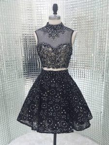 Sequined Sleeveless Mini Length Prom Evening Gown and Beading and Lace and Appliques