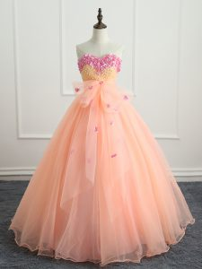 Peach Sleeveless Organza Lace Up 15 Quinceanera Dress for Military Ball and Sweet 16 and Quinceanera