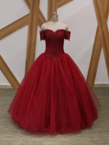 Sleeveless Tulle Floor Length Lace Up Prom Gown in Wine Red with Appliques