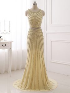 Flirting Champagne Scoop Neckline Beading and Belt Prom Gown Sleeveless Zipper