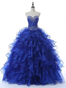 Best Royal Blue Sleeveless Floor Length Beading and Ruffles Lace Up Sweet 16 Quinceanera Dress