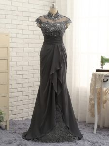 Black Chiffon Zipper Prom Evening Gown Cap Sleeves Floor Length Lace and Ruching
