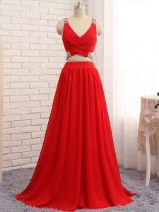 Comfortable Red Criss Cross Homecoming Dress Beading Sleeveless Brush Train