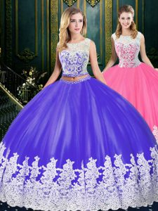 Sleeveless Clasp Handle Floor Length Appliques and Embroidery Quinceanera Dresses