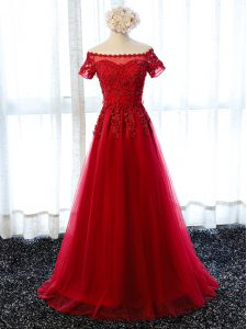 Dynamic Floor Length Wine Red Homecoming Dress Scalloped Short Sleeves Lace Up