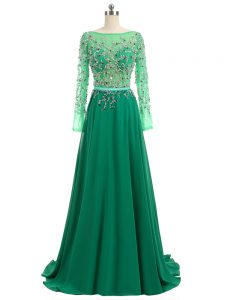 Adorable Backless Evening Dress Green for Prom and Party and Military Ball with Beading Brush Train