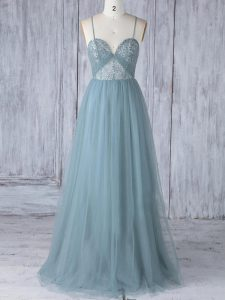 Smart Grey Criss Cross Spaghetti Straps Appliques Quinceanera Court of Honor Dress Tulle Sleeveless