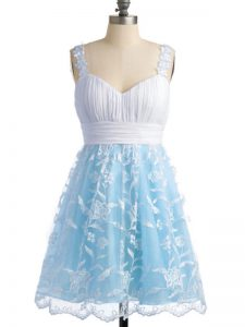 Fancy Light Blue Empire Straps Sleeveless Lace Knee Length Lace Up Lace Quinceanera Dama Dress