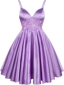 Fine Lilac A-line Lace Damas Dress Lace Up Elastic Woven Satin Sleeveless Knee Length