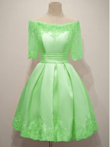 Dama Dress for Quinceanera Prom and Party and Wedding Party with Lace Off The Shoulder Half Sleeves Lace Up