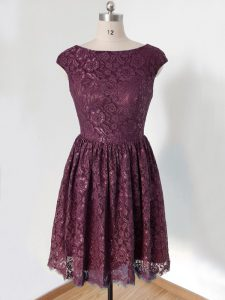 Knee Length Lace Up Quinceanera Dama Dress Dark Purple for Prom and Wedding Party with Lace