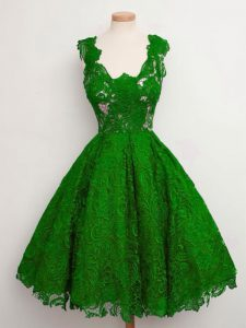 Glamorous Green A-line Straps Sleeveless Lace Knee Length Lace Up Lace Dama Dress