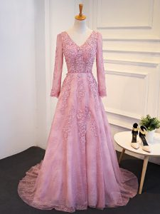 Attractive Long Sleeves Brush Train Lace Up Lace and Appliques Homecoming Dress