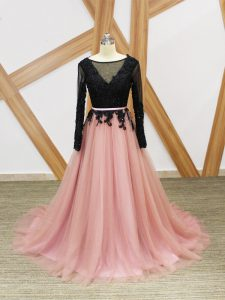 Pink And Black Zipper Scoop Lace and Appliques and Sashes ribbons Prom Evening Gown Tulle Long Sleeves Brush Train
