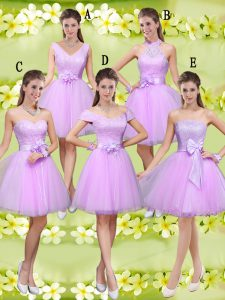 Sophisticated Tulle Sleeveless Knee Length Court Dresses for Sweet 16 and Lace and Belt