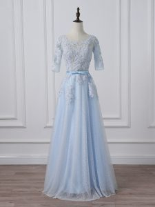 Fashion 3 4 Length Sleeve Beading and Lace and Appliques Lace Up Prom Gown with Light Blue