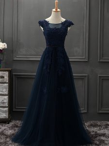 Navy Blue A-line Tulle Scoop Sleeveless Appliques Floor Length Lace Up Prom Dress