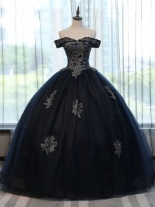 Fabulous Floor Length Lace Up Quinceanera Dress Navy Blue for Military Ball and Sweet 16 and Quinceanera with Appliques