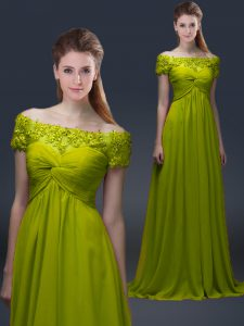 Hot Sale Olive Green A-line Off The Shoulder Short Sleeves Satin Floor Length Lace Up Appliques Evening Dress