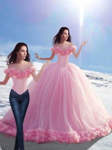 Nice Baby Pink Ball Gowns Off The Shoulder Sleeveless Tulle Brush Train Lace Up Hand Made Flower 15th Birthday Dress