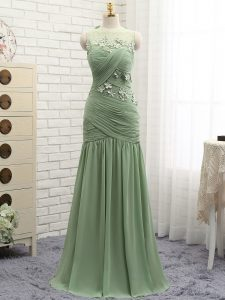 Dramatic Chiffon Scoop Sleeveless Brush Train Zipper Ruching and Hand Made Flower Evening Dress in Olive Green