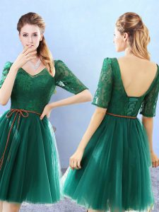 Green Tulle Backless V-neck Half Sleeves Knee Length Damas Dress Lace