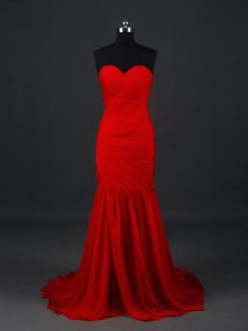 Red Sweetheart Neckline Ruching Prom Evening Gown Sleeveless Side Zipper