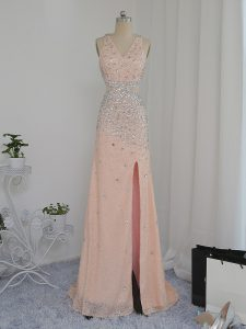 V-neck Sleeveless Chiffon Prom Dress Beading Backless