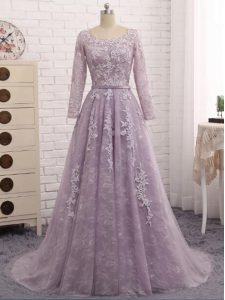 Modern Lavender Sleeveless Brush Train Beading and Appliques Prom Gown