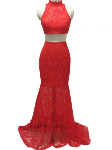 Excellent Red Zipper Halter Top Lace Prom Dresses Lace Sleeveless Brush Train