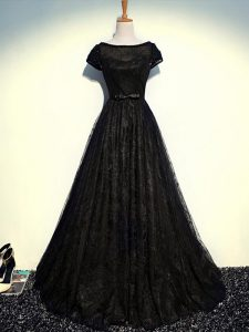 Comfortable Black Short Sleeves Floor Length Beading and Lace and Belt Zipper Prom Gown