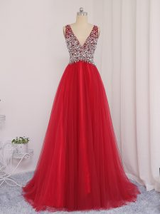 Fashionable V-neck Sleeveless Tulle Prom Dress Beading Brush Train Backless