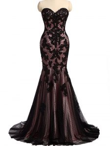 Dazzling Sleeveless Brush Train Lace Up Lace and Appliques Prom Dresses