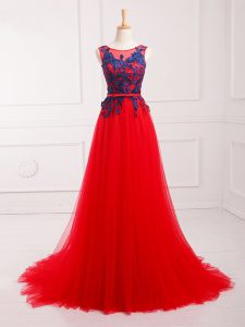 Red Sleeveless Lace and Appliques Lace Up