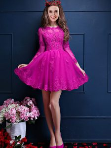 Spectacular A-line Quinceanera Court Dresses Fuchsia Scalloped Chiffon 3 4 Length Sleeve Mini Length Lace Up