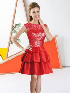 Trendy Red Sleeveless Beading and Lace Knee Length Dama Dress for Quinceanera