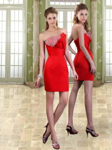 Trendy Red Sweetheart Neckline Beading Prom Evening Gown Sleeveless Lace Up